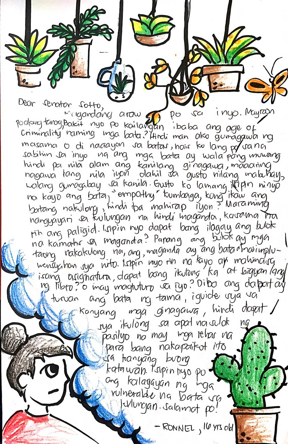 Letter to Senator Sotto from Ronnel, 16